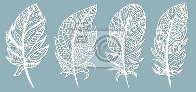 Obraz Feather. Laser cut. Template for laser cutting and Plotter. Vector illustration. Sticker. Pattern for the laser cut, serigraphy, plotter.