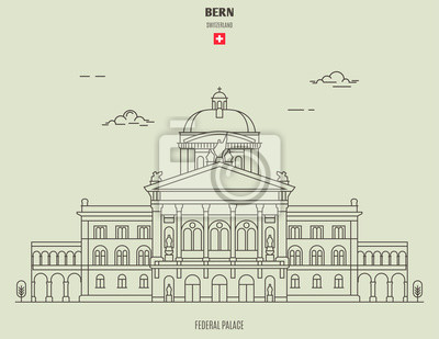 Federal Palace in Bern, Switzerland. Landmark icon