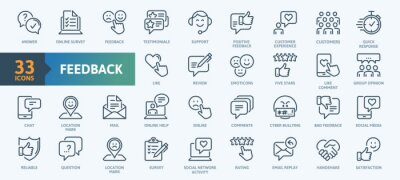Obraz Feedback Outline Icon Collection. Thin Line Set contains such Icons as Rating, Testimonials, Quick Response, Satisfaction and more. Simple web icons set.