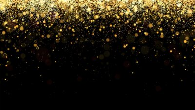 Obraz Festive vector background with gold glitter and confetti for christmas celebration. Black background with glowing golden particles.