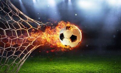 Obraz Fiery Soccer Ball In Goal With Net In Flames
