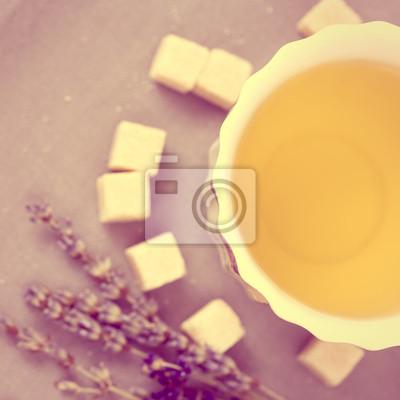 Obraz Filiżanka herbaty z cukrem i lawendy