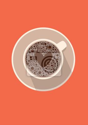 Filiżanka kawy ikona z serca. Ilustracji wektorowych w płaskiej konstrukcji