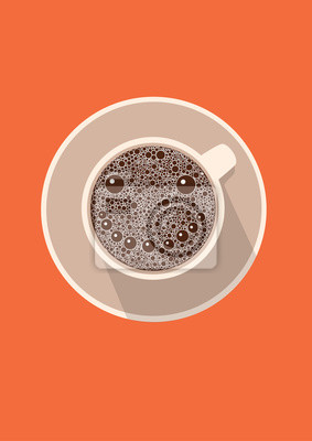 Filiżanka kawy ikona z uśmiechem. Ilustracji wektorowych w płaskiej konstrukcji