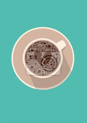 Filiżanka kawy ikona z złamanym sercem. Ilustracji wektorowych w mieszkaniu