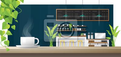 Obraz Filiżanka kawy na drewnianym stole z wnętrza kawiarni tle, wektor, ilustracja