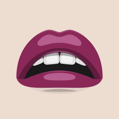 Obraz Fioletowe usta Uroda Ilustracja