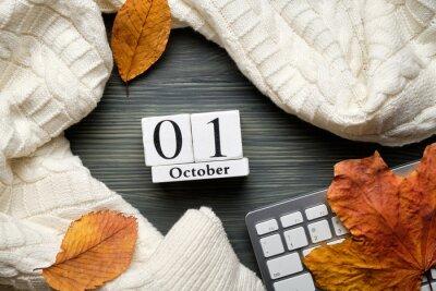Obraz first day of autumn month calendar october