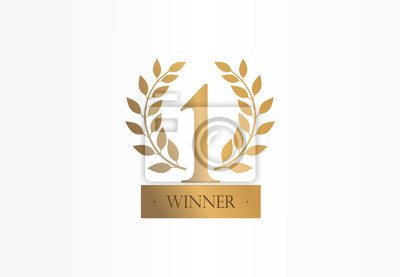 Obraz First place, number one, golden laurel wreath creative symbol concept. Trophy, cup abstract business logo idea. Award, win, winner icon. Corporate identity logotype, company graphic design tamplate
