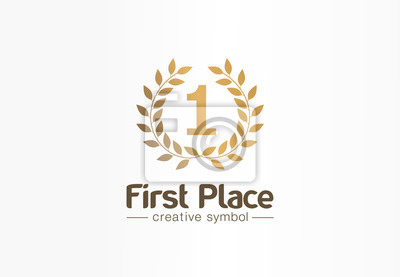 Obraz First place, number one, golden laurel wreath creative symbol concept. Trophy, prize abstract business logo idea. Award, win, winner icon. Corporate identity logotype, company graphic design tamplate
