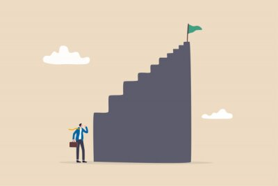 Obraz First step is hardest, learning curve or overcome difficulty when start new business, challenge to succeed in work concept, discouraged businessman looking at high steep first step of success stairway