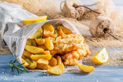 Obraz Fish and chips w gazecie
