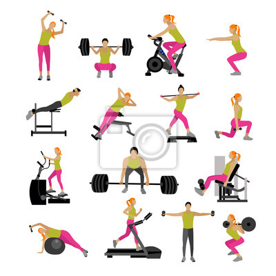 Fitness i ćwiczenia ćwiczenia w siłowni. Wektor zestaw ikon płaskiej stylu na białym tle