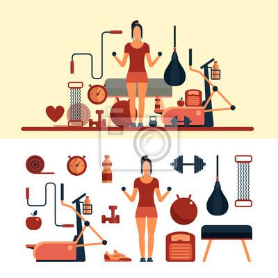 Fitness obiektów sportowych samodzielnie na białym tle. Elementy projektu wektorowe i ikony. Wyposażenie siłowni.