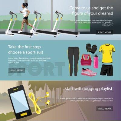 Fitness poziome banery ustawione. Sprzęt sportowy i akcesoria. Szkic ilustracji wektorowych. Kobieta biegnie na bieżni