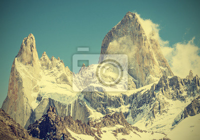 Fitz Roy Mountain Range, Argentyna, zabytkowe stylu retro.