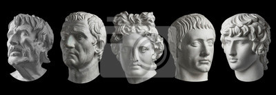 Obraz Five gypsum copy of ancient statue heads isolated on a black background. Plaster sculpture mans faces.