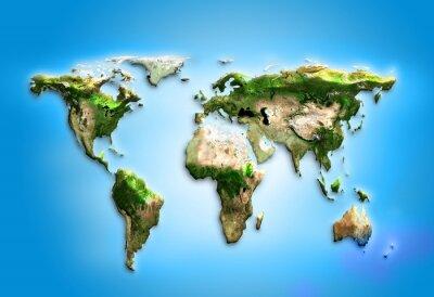 Obraz Fizyczna mapa świata ilustracji. Elementy tego zdjęcia