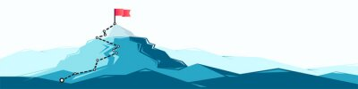 Obraz Flag on the mountain peak. Business concept of goal achievement or success. Flat style illustration