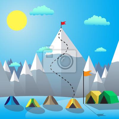 Flaga na Mountain Peak. Osiągnięcie bramki. Płaska konstrukcja ilustracji wektorowych