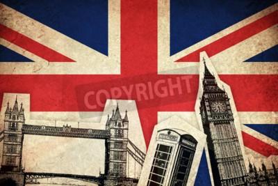 Obraz Flaga Wielka Brytania Anglia Kraj zabytkami