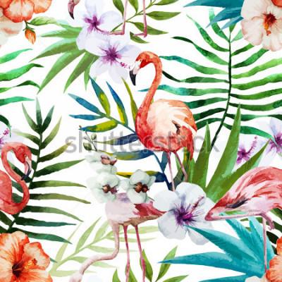 Obraz Flamingi, akwarela, tropiky, wzór