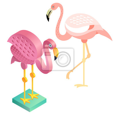 Obraz Flamingi Ptaków W Płaskiej Stylu I Rzucie Izometrycznym Na
