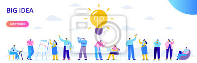 Obraz Flat business people with big Light Bulb Idea. People working together on new Project.  Creativity, Brainstorming, Innovation concept.  Flat Vector illustration.