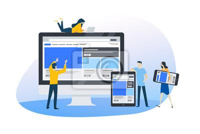 Obraz Flat design concept of web design and development, responsive design, seo. Vector illustration for website banner, marketing material, business presentation, online advertising.