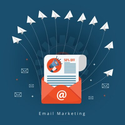 Flat vector for email marketing, newsletter marketing, email subscription and drip campaign