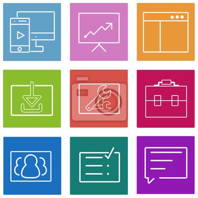 Obraz Flatline zestaw ikon biznesu. Internetowych i mobilnych projektowania interfejsu