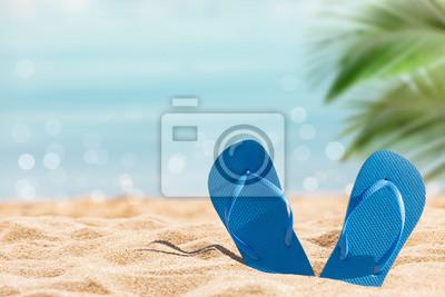 Obraz flip flops on the sunny tropical beach with palm tree