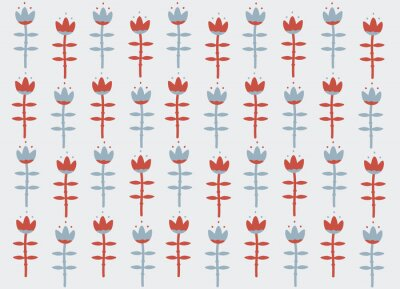 Obraz Floral background Scandinavian style with red and  blue flower lily, tulip. Nordic Ornament for design, fabric, textile, wrapping paper, wallpaper