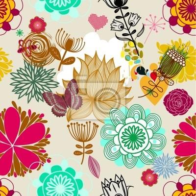 Floral bez szwu deseń w stylu retro