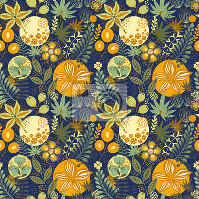 Floral seamless pattern on blue. Abstract vector background with flowers and leaves. Natural bright design.