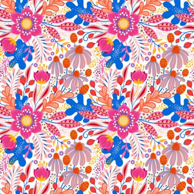 Floral seamless pattern on white. Abstract vector background with flowers and leaves. Natural bright design.
