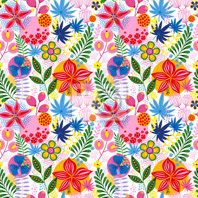 Floral seamless pattern on white. Vector Illustration. Abstract background with flowers and leaves. Natural bright design.