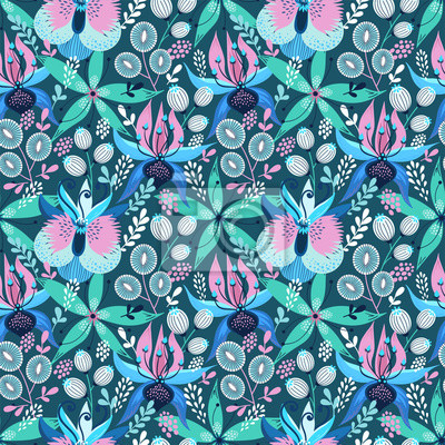Floral seamless pattern on white. Vector Illustration. Abstract background with flowers and leaves. Natural bright design in blue colors.