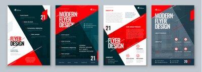Obraz Flyer Design Set. Dark Red Modern Flyer Background Design. Template Layout for Flyer. Concept with Dynamic Line Shapes. Vector Background.