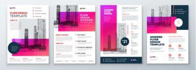 Obraz Flyer Design Set. Modern Flyer Background Design. Template Layout for Flyer. Concept with Dynamic Line Shapes. Vector Background.