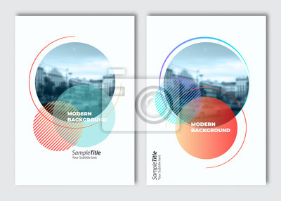 Obraz Flyer layout template. Fluid background. Vector brochure background with elements for magazine, cover, poster, layout design. A4 size. Replace the image in the clipping mask by yours.