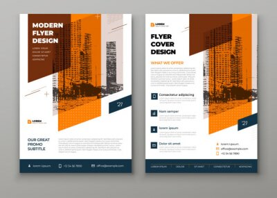 Obraz Flyer template layout design. Orange Corporate business flyer mockup. Creative modern vector flier concept with dynamic abstract shapes on background