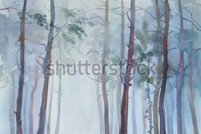 Obraz Foggy forest watercolor background