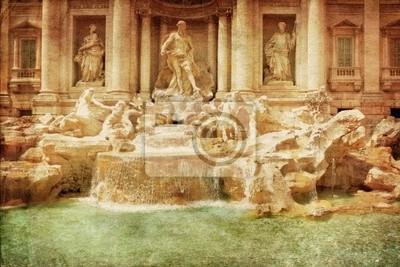 Fontanna di Trevi (Fontana di Trevi) w stylu grunge i retro. Rom