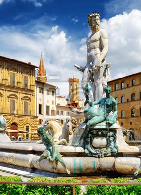 Obraz Fontanna Neptuna na Piazza della Signoria. Florencja