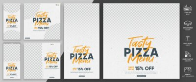 Obraz Food Menu Social Media Post Template Vector Design. Puzzle Social Media Template Can Be Use for Sale, Promotion and Advertising.
