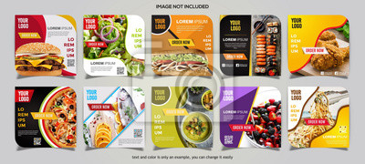 Obraz Food social media post collection card template