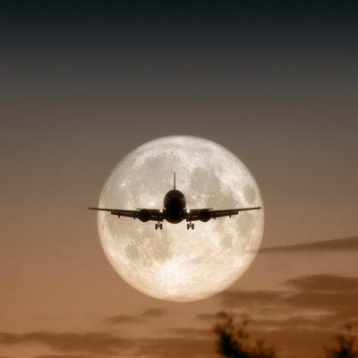Obraz Fotografia z powietrza samolot odrzutowy na Księżycu