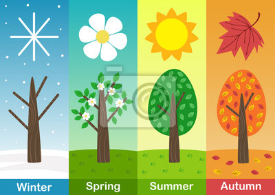 Obraz four seasons banners with  trees  - vector illustration, eps