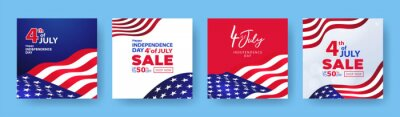 Obraz Fourth of July. 4th of July holiday banners, posters, cards or flyers Set. USA Independence Day design template for Sale, discount, advertisement, social media, web. Place for your text.